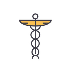 medicine sign flat line concept vector image vector image