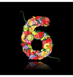 number six made from fruits vector image vector image