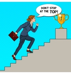 Pop art business woman walking up stairs to cup vector