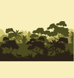 Rain forest scenery with tree silhouette vector
