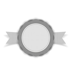 Realistic white blank emblem on ribbon vector