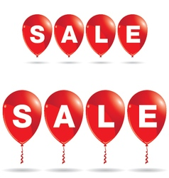 Red balloons with sale discount isolated on white vector image