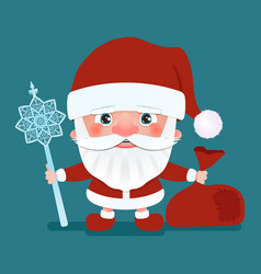 Santa claus with a bag and crook stick vector