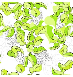 Seamless walpaper with green leaves vector