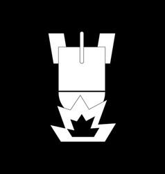 White icon on black background detonation of bomb vector