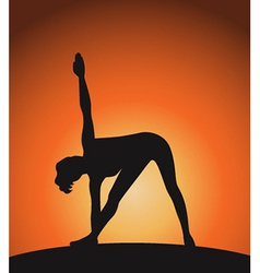 Yoga woman in triangle pose vector