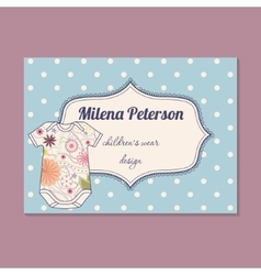 Vintage business card for children wear designer vector
