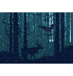 Snowy winter forest with deer vector