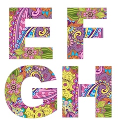 English alphabet with colorful vintage pattern vector