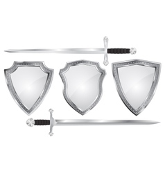 Set of metal shields with swords vector image