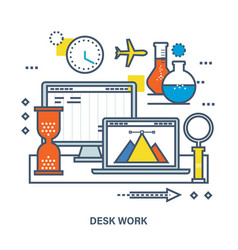 Concept of desk work workplace and office work vector