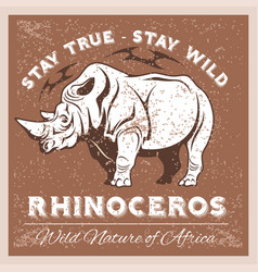 Stylized rhino in vintage style for vector