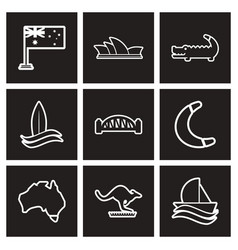 Assembly stylish black and white icons australia vector