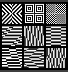 set of black and white geometric seamless pattern vector image