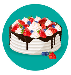 Birthday cake with fresh blueberries strawberries vector