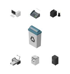 isometric work set of strongbox office phone vector image
