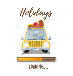Holidays loading poster template with car and vector