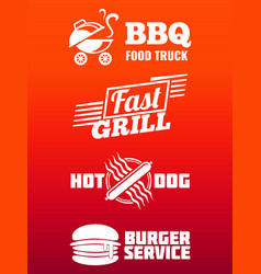Fast food labels collection - bbq fast food and vector