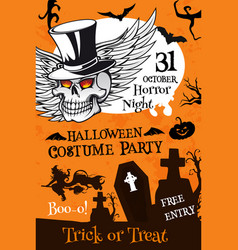 Halloween party poster with pumpkin and skull vector