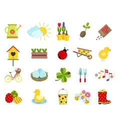 Spring icons flat style set vector