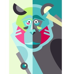 Abstract original monkey drawing in flat style and vector