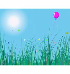 grass and balloon vector image
