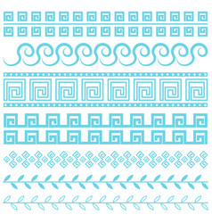 Antique greek border blue line vector
