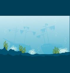 Art of underwater landscape silhouette vector