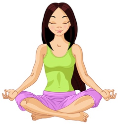 Asian Yogi Girl vector image vector image