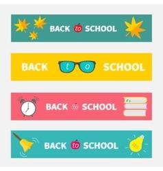 Back to school banner set bell alarm clock vector
