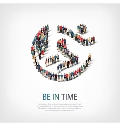 Be in time people sign 3d vector