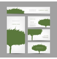 Business cards collection green tree design vector image vector image