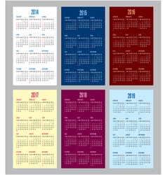 calendar grid for 2014 2015 2016 2017 2018 2019 vector image