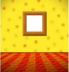 Cartoon childish room with wooden frame vector image