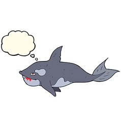 Cartoon killer whale with thought bubble vector