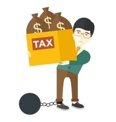 Chinese businessman locked in debt vector