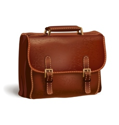 Classic brown leather briefcase vector