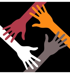 Colorful Four Hands Icon on black background vector image vector image