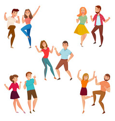Dancing people 5 icons composition vector