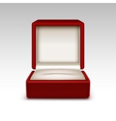 Empty red velvet opened gift jewelry box vector