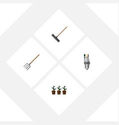Flat icon garden set of flowerpot pump hay fork vector
