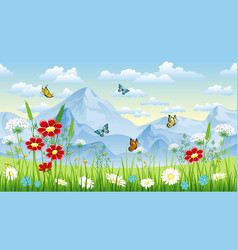 Floral background with butterflies and moutains vector