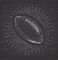 Football rugby ball vintage label hand drawn vector
