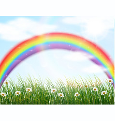 Garden flower with rainbow background vector