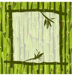 Hand-drawn green bamboo frame bacground with space vector