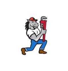 Horse plumber kneeling monkey wrench cartoon vector