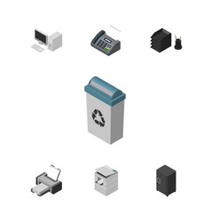 Isometric work set of strongbox office phone vector