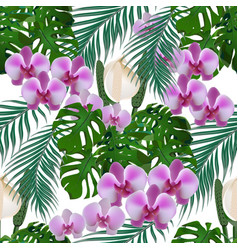 jungle green tropical leaf flowers of orchids vector image vector image