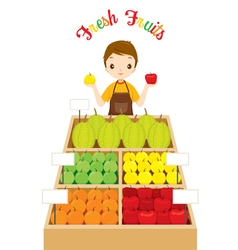 Male shopkeeper with a lot of fruits in shop vector
