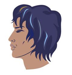 man curly hair had vector image